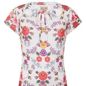 Lindy Bop Tess White Quaint Floral Jersey Top